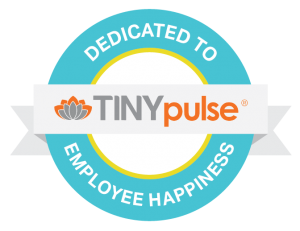graphic badge with text saying TINYpulse, dedicated to employee happiness