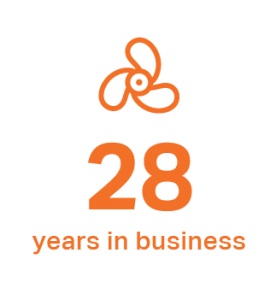 orange graphic saying 28 years in business