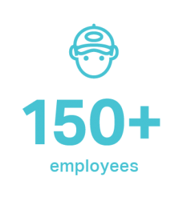 teal graphic saying 150+ employees