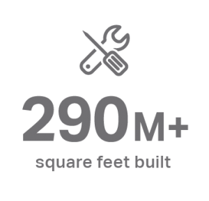 grey graphic saying 290m+ square feet built