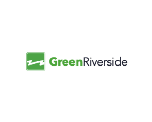Green Riverside Logo with Green text in the color Green